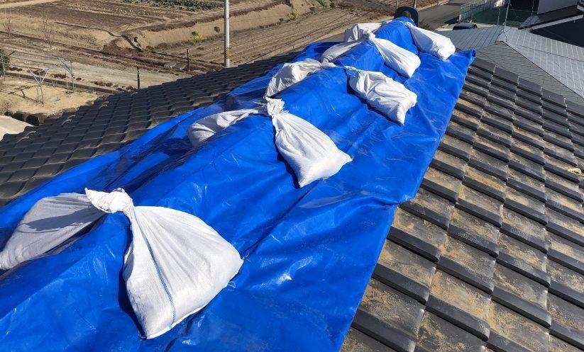 屋根のシート養生写真