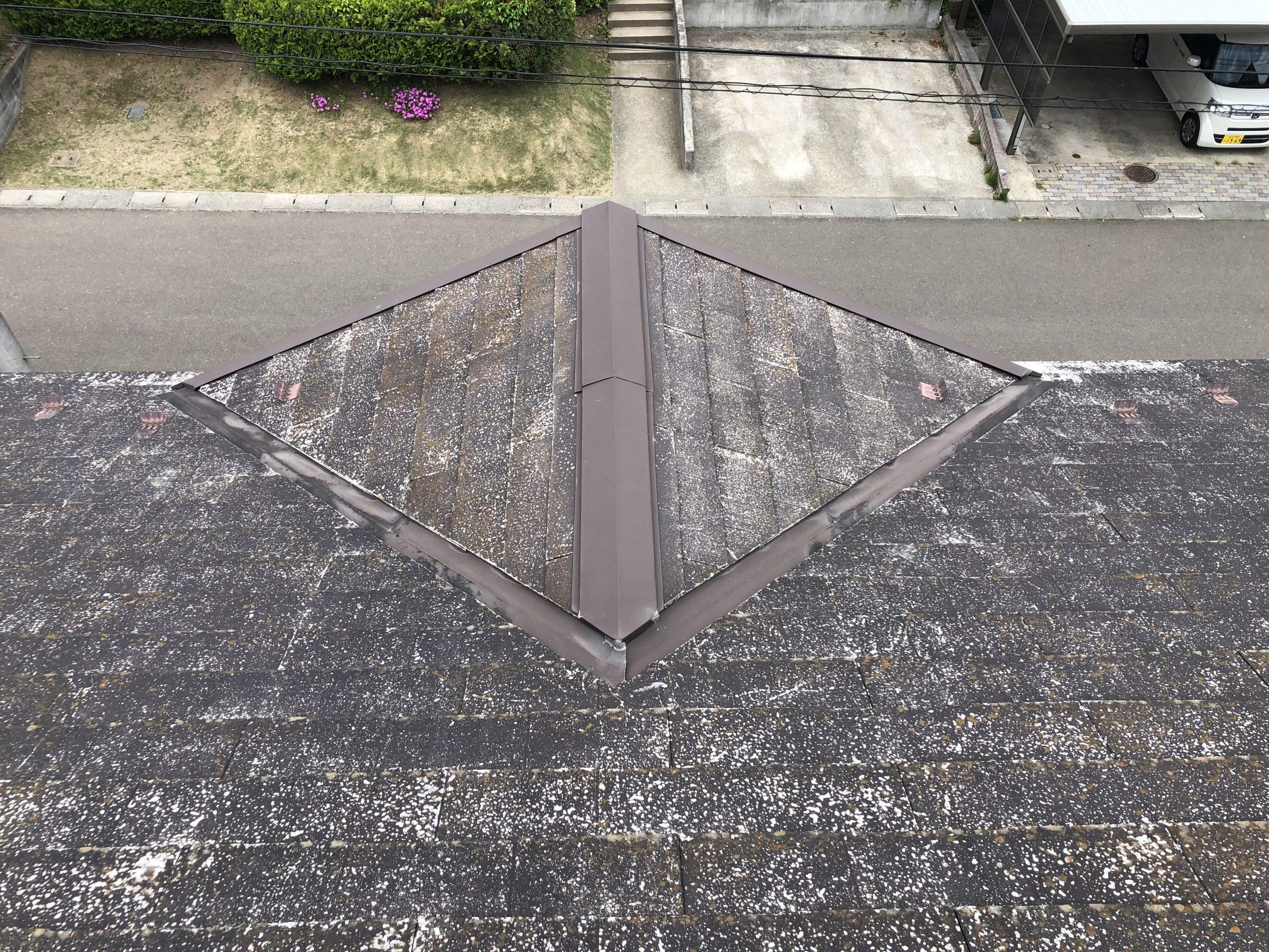 谷付近のスレート屋根