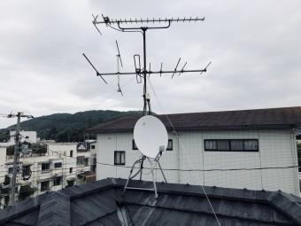 屋根に立つテレビアンテナ