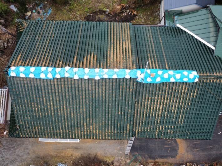 地震で瓦屋根の棟部分が落下した家屋